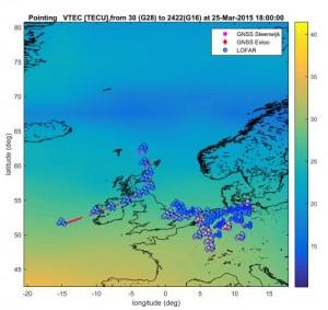 LOFAR metingen van de ionosfeer langs een satellietbaan. De LOFAR stations zijn duidelijk herkenbar als groepjes van waarnemingen.