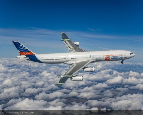 A340 laminar flow BLADE demonstrator first flight - in flight